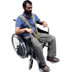 Sujetador de paciente para silla de ruedas